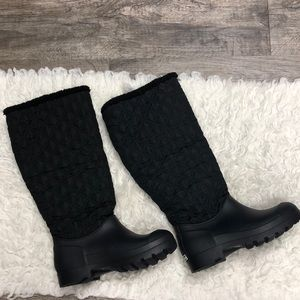 Dirty laundry tall quilted rubber boots nwt